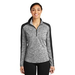 Sport-Tek® Ladies' PosiCharge® Electric Heather Colorblock 1/4-Zip Pullover Sweatshirt