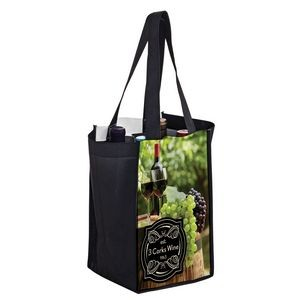"Full Coverage PET Non-Woven Sublimated 4 Bottle Wine Tote Bag (7""x7""x12"") – Sublimation"