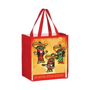 "Full Coverage OPP Laminated Non-Woven Grocery Bag w/ Full Color (12""x8""x13"") - Sublimated"