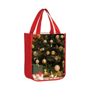 "Full Coverage OPP Laminated Non-Woven Rounded Bottom Tote Bag w/ Full Color (9""x4""x11"") - Sublimated"