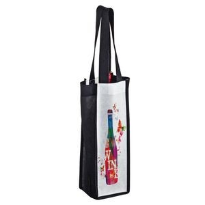 "Full Coverage PET Non-Woven Sublimated 1 Bottle Wine Tote Bag (4""x4""x13"") – Sublimation"