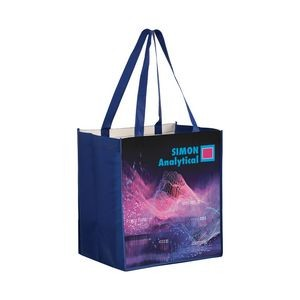 "Full Coverage OPP Laminated Non-Woven Grocery Bag w/ Full Color (13""x10""x15"") - Sublimated"