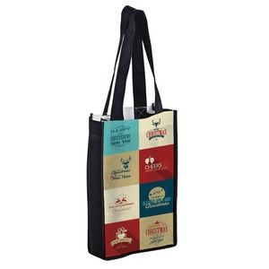 "Full Coverage PET Non-Woven Sublimated 2 Bottle Wine Tote Bag (7""x3 1/2""12"") – Sublimation"