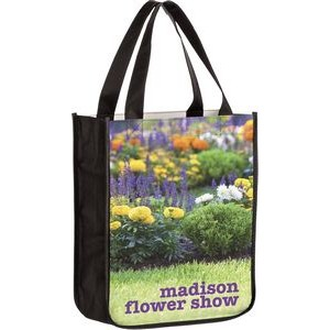 "Full Coverage PET Non-Woven Rounded Bottom Tote Bag w/ Full Color (9""x4""x11"") - Sublimated"