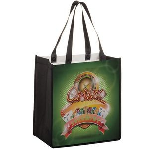 "Full Coverage PET Non-Woven Grocery Bag w/ Full Color (12""x8""x13"") - Sublimated"