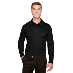 Devon and Jones CrownLux Performance? Men's Plaited Long Sleeve Polo