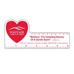 "6"" Plastic Rectangle Ruler w/ Corner Heart"