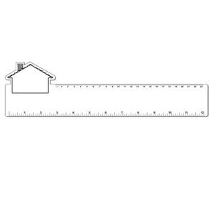 "12"" Plastic Rectangle Ruler w/ Corner House"
