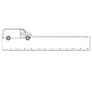"12"" Plastic Rectangle Ruler w/ Corner Van"