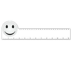 "12"" Plastic Rectangle Ruler w/ Corner Circle"