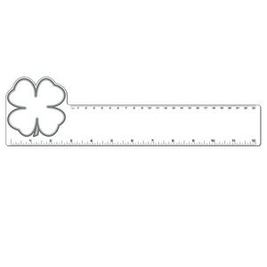 "12"" Plastic Rectangle Ruler w/ Corner Clover"