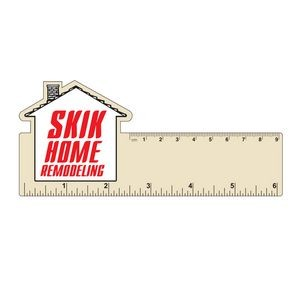 "6"" Plastic Rectangle Ruler w/ Corner House"
