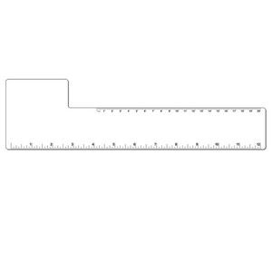 "12"" Plastic Rectangle Ruler w/ Corner Square"