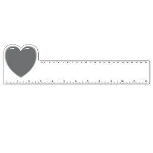 "12"" Plastic Rectangle Ruler w/ Corner Heart"