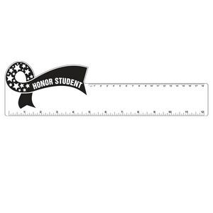 "12"" Plastic Rectangle Ruler w/ Corner Ribbon"