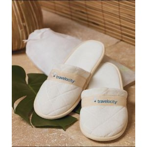 Cobblestone Mills Quilted Velour Slippers in Travel Bag