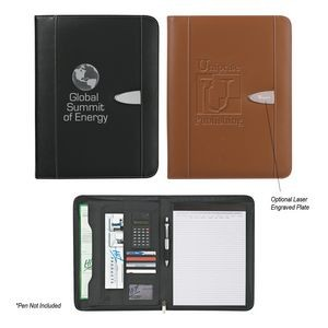 Eclipse Bonded Leather Zippered Portfolio With Calculator