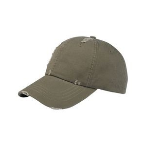 Unstructured Washed Cotton Twill Distressed Cap