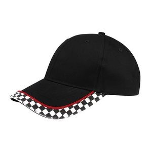 Structured Cotton Twill Cap w/ Racing Flag Print